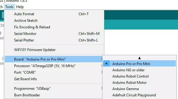 Select the Arduino Pro or Pro Mini board and the Atmega328P (5V, 16MHz) processor.