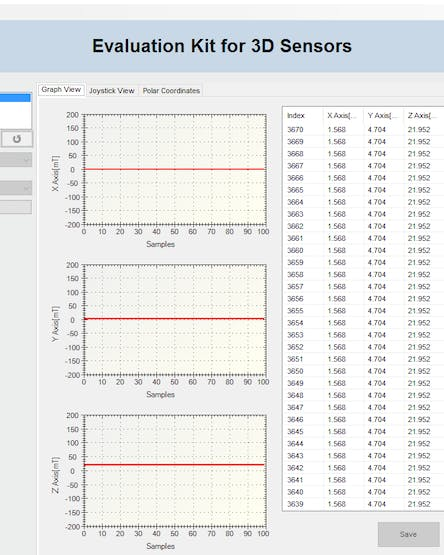 This is the application, we can make magnetic movements in the sensor and interact with the graphs and data.