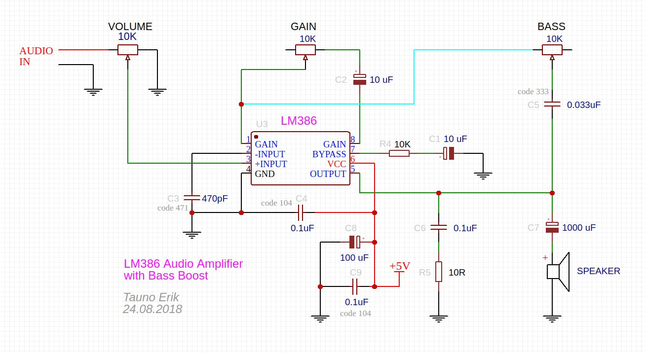 LM386 amplifier schematic