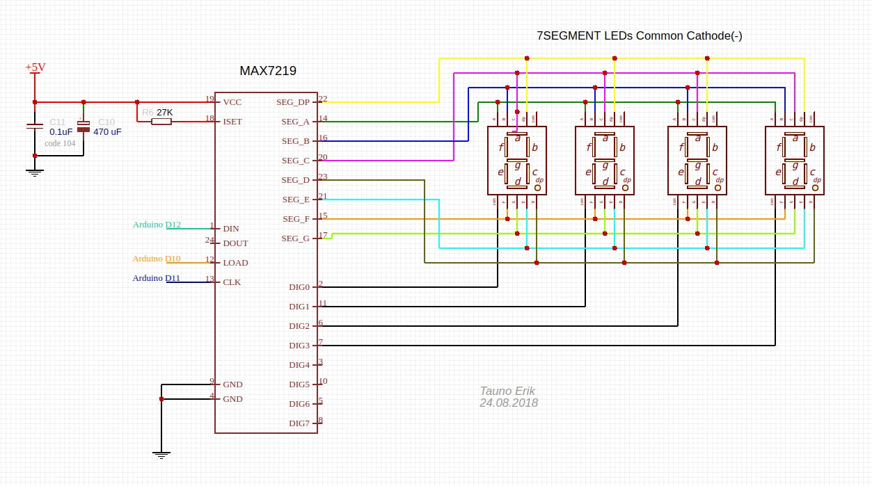 Full 7-segment LED display schematic
