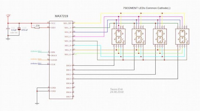 Full 7-segment LED display schematic