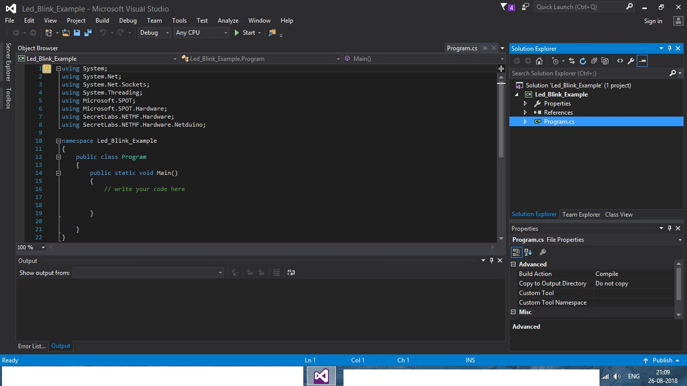 Program.cs code