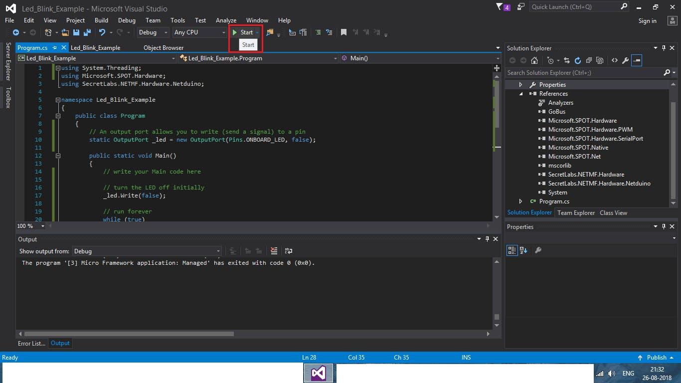 Starting the code