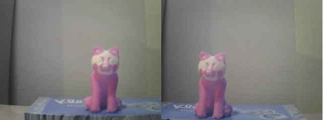 Stereo image of a cat figure