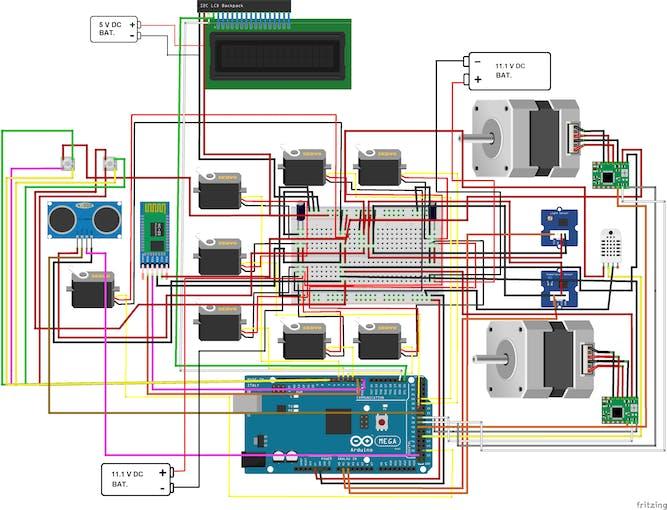 Wiring diagram for servos, drive motors, and sensors