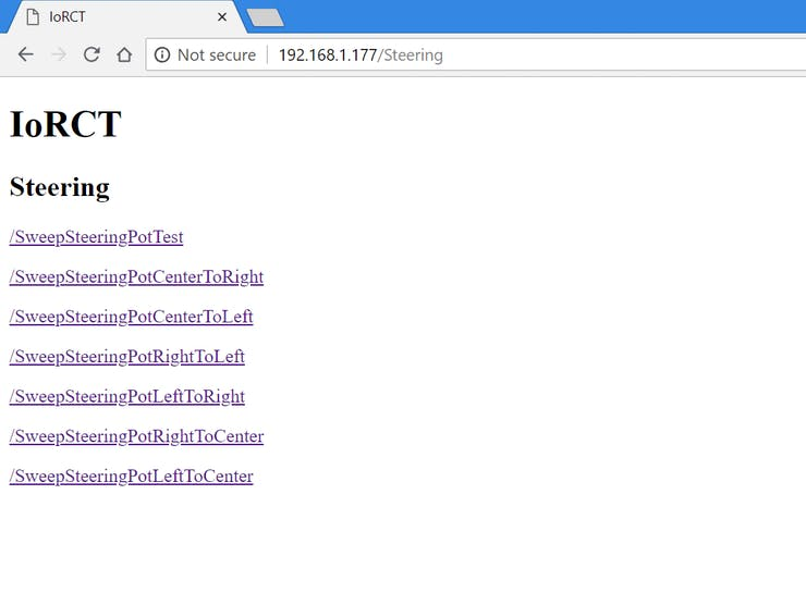 the server serves pages with links to endpoints for easy testing