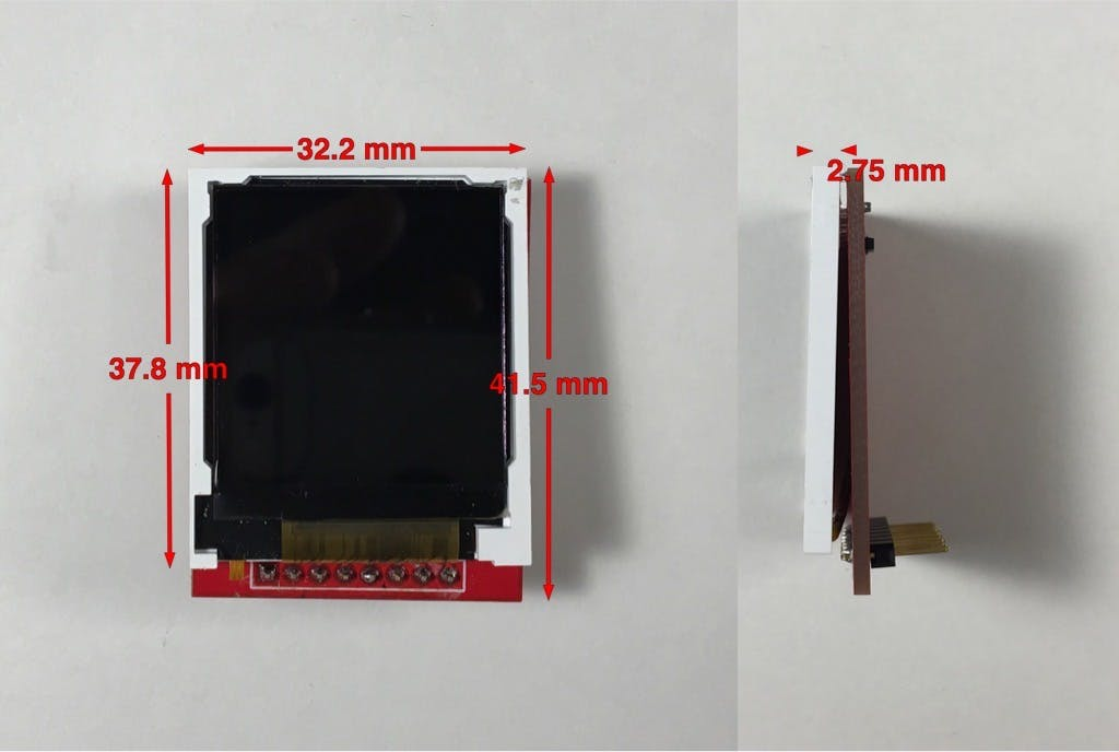 Fig 1. LCD display dimensions