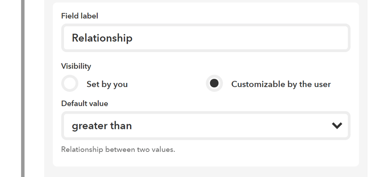 Setting the realtionship of the IF, note how we leave it customisable