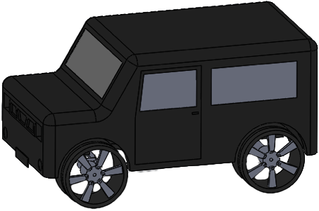 Fig. 3 - Isometric view of the remote-controlled car model.