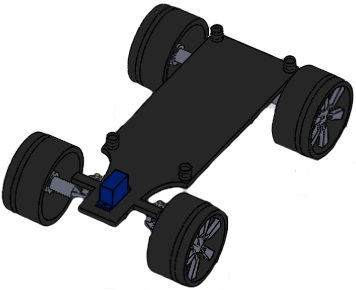 Fig. 7 - Isometric view of the chassis, wheels, axles and servo.