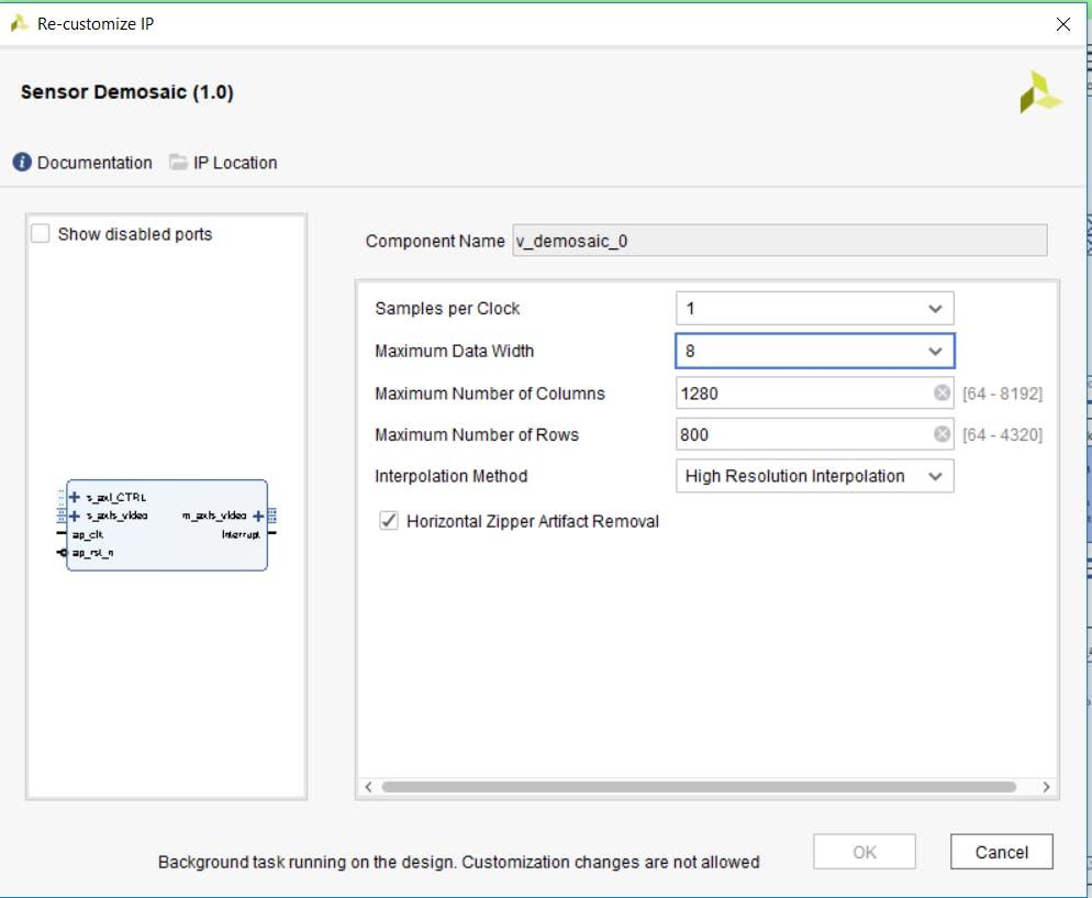 Configuration of the Sensor Demosaic