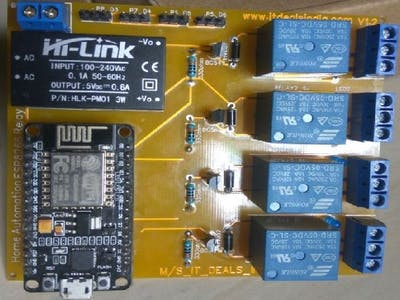 ESP8266 4-Channel Relay Module Home Automation Project