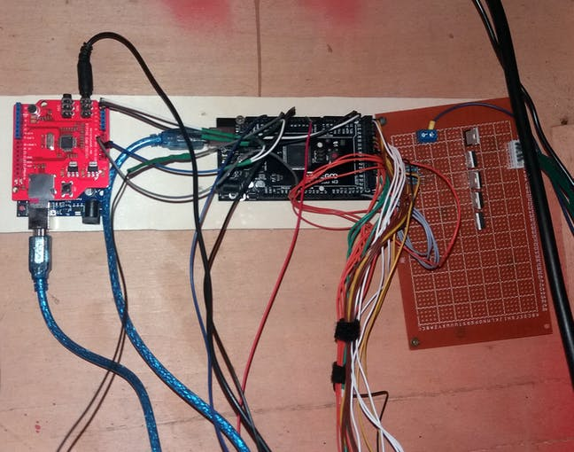 From left to right: Arduino UNO with MP3 shield , Arduino MEGA and the Solenoid driver board.