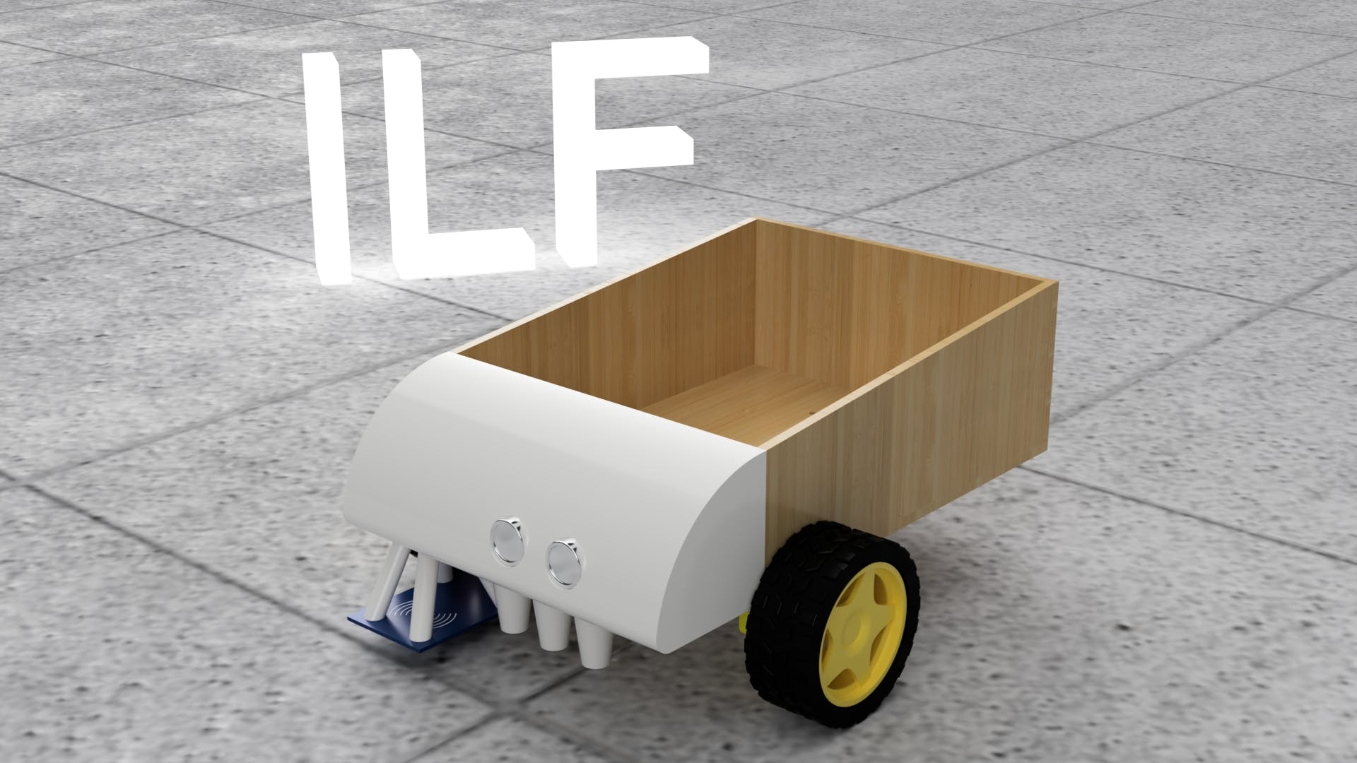 ILF is short for Industrial Line Follower, there are fingerjoints between wooden parts, but you can't see them on this render