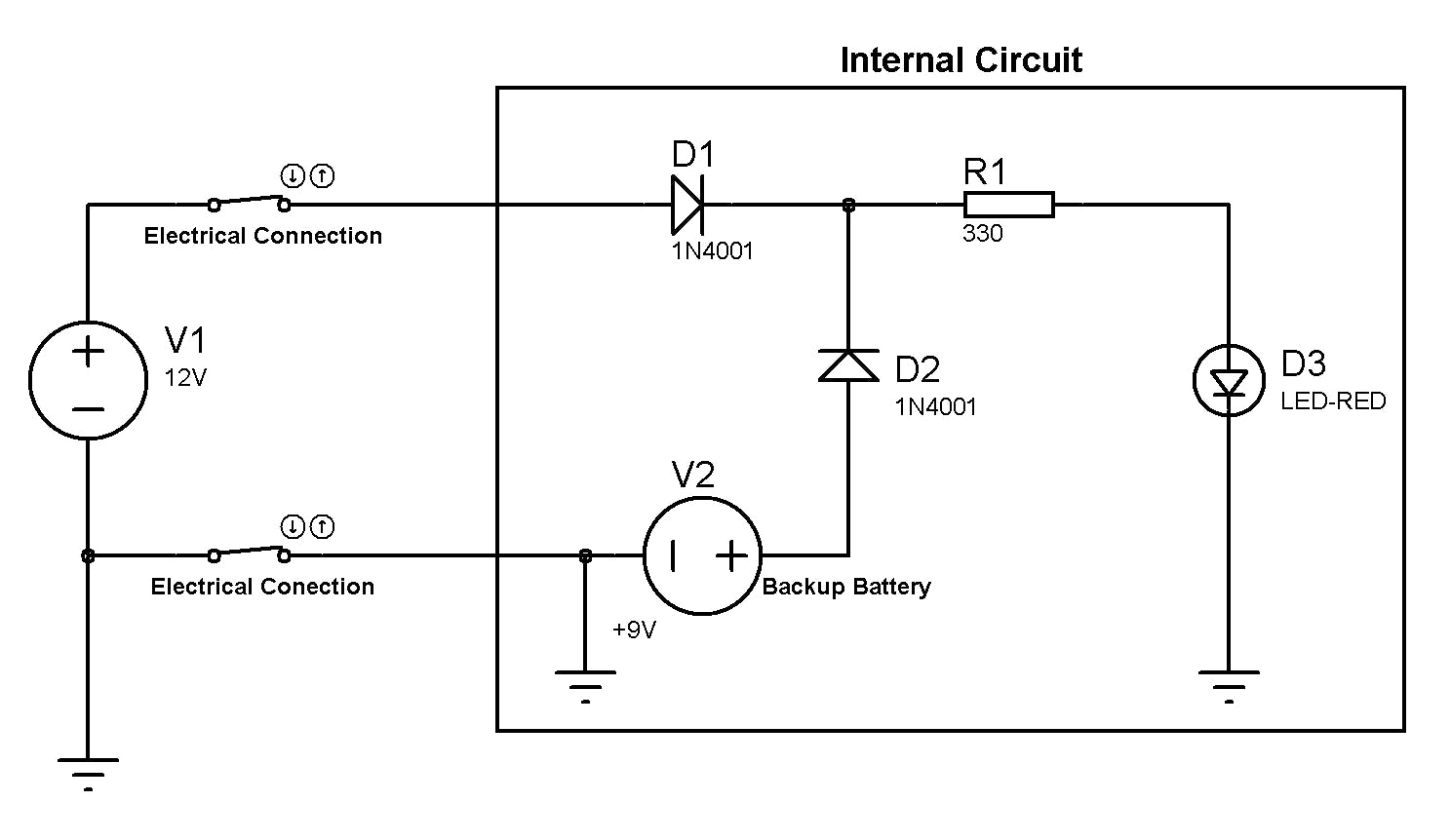 Figure 2 - Schematic to construct the circuit of the backup battery.
