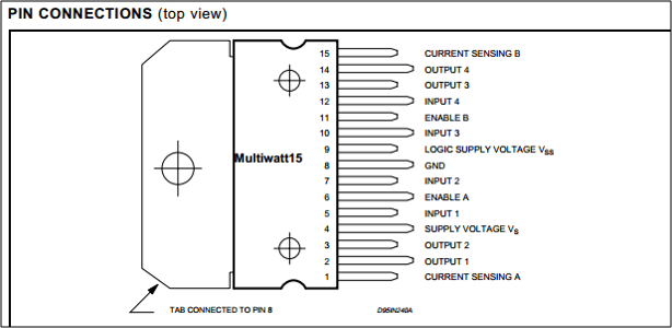 Pin connections for the L298 H-bridge (Multiwatt15 format)