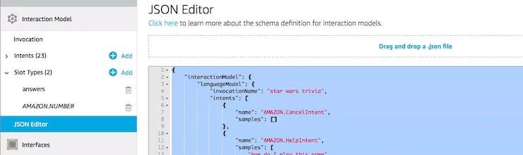 JSON editor under Invocation