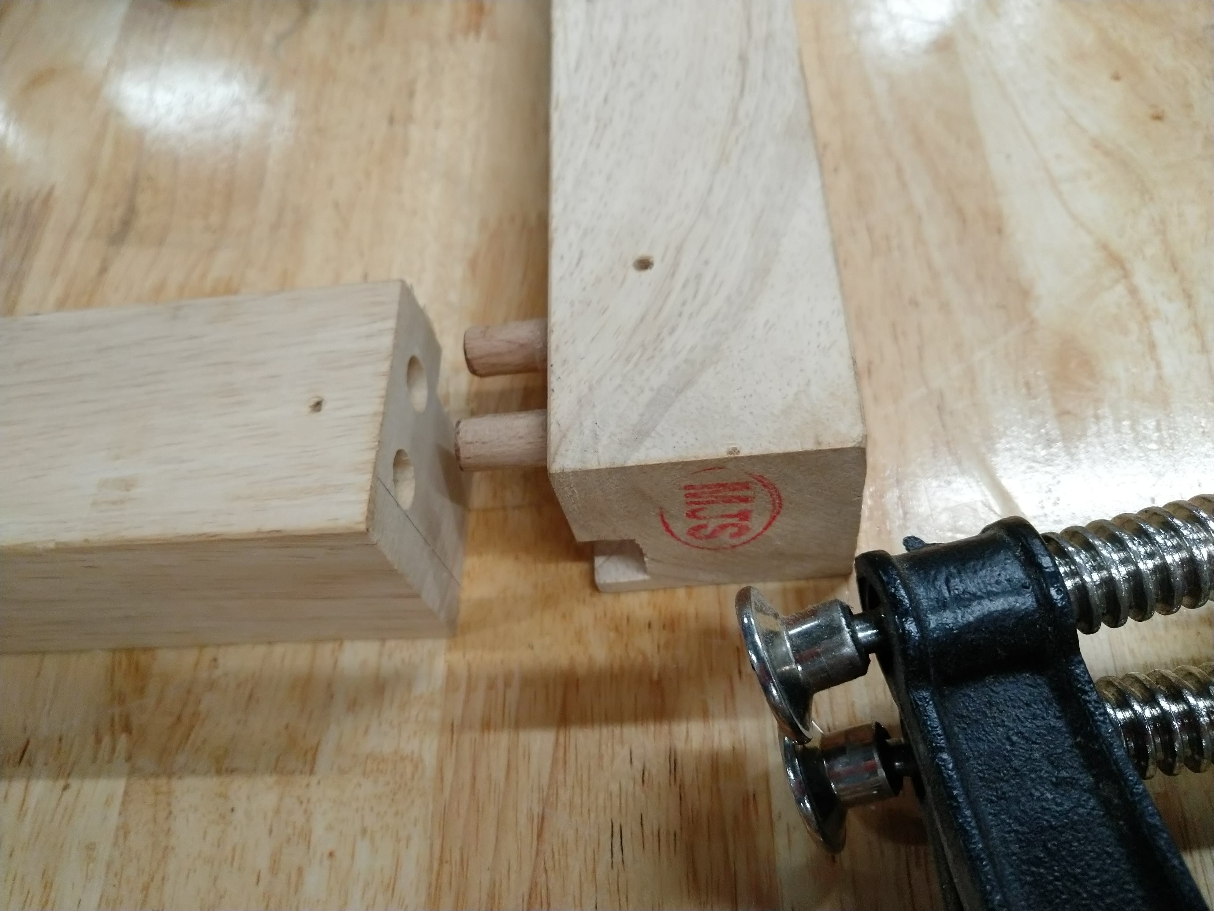 Dowels to help hold it together. We wanted it to come apart somewhat easily as well.