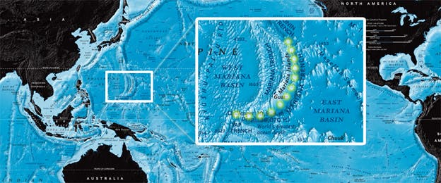 A map showing the Mariana Trench (credit: http://www.deepseachallenge.com/the-expedition/mariana-trench/)