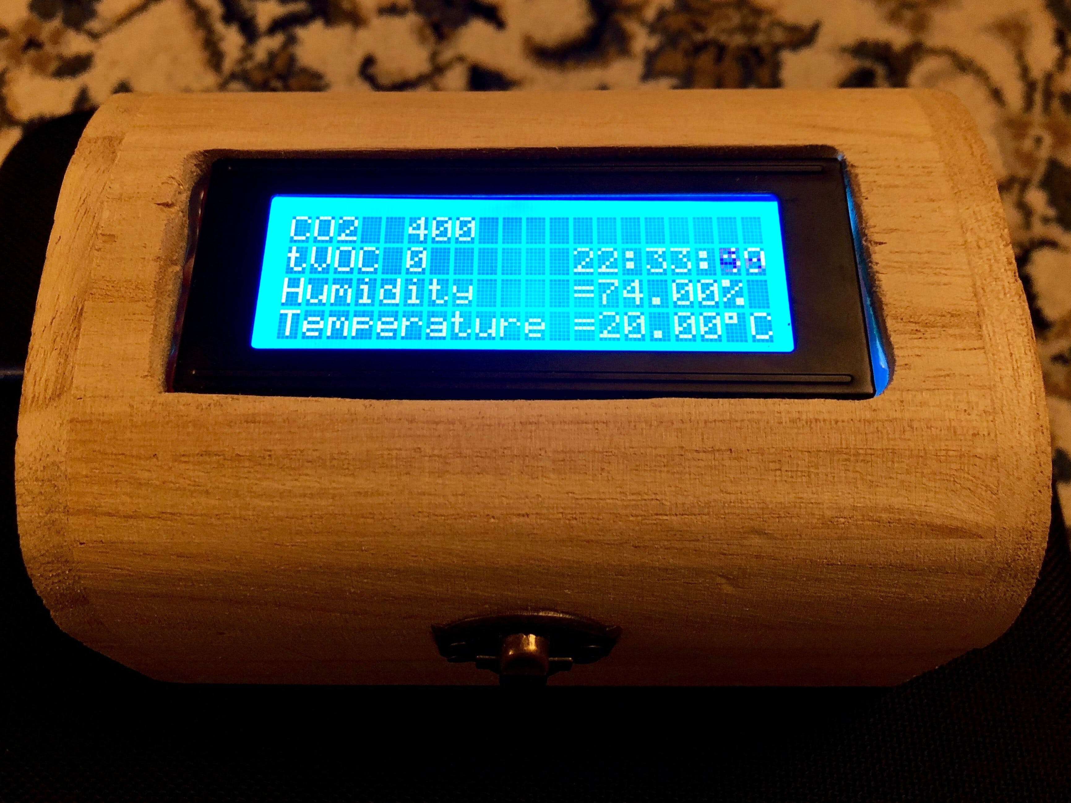 Wooden Chest Air Quality Monitor