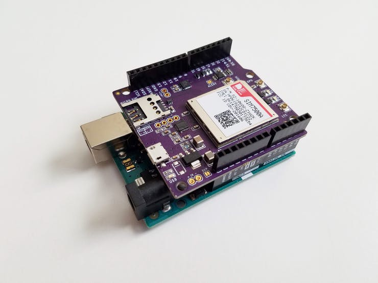 This LTE shield just sits on top of an Arduino board!