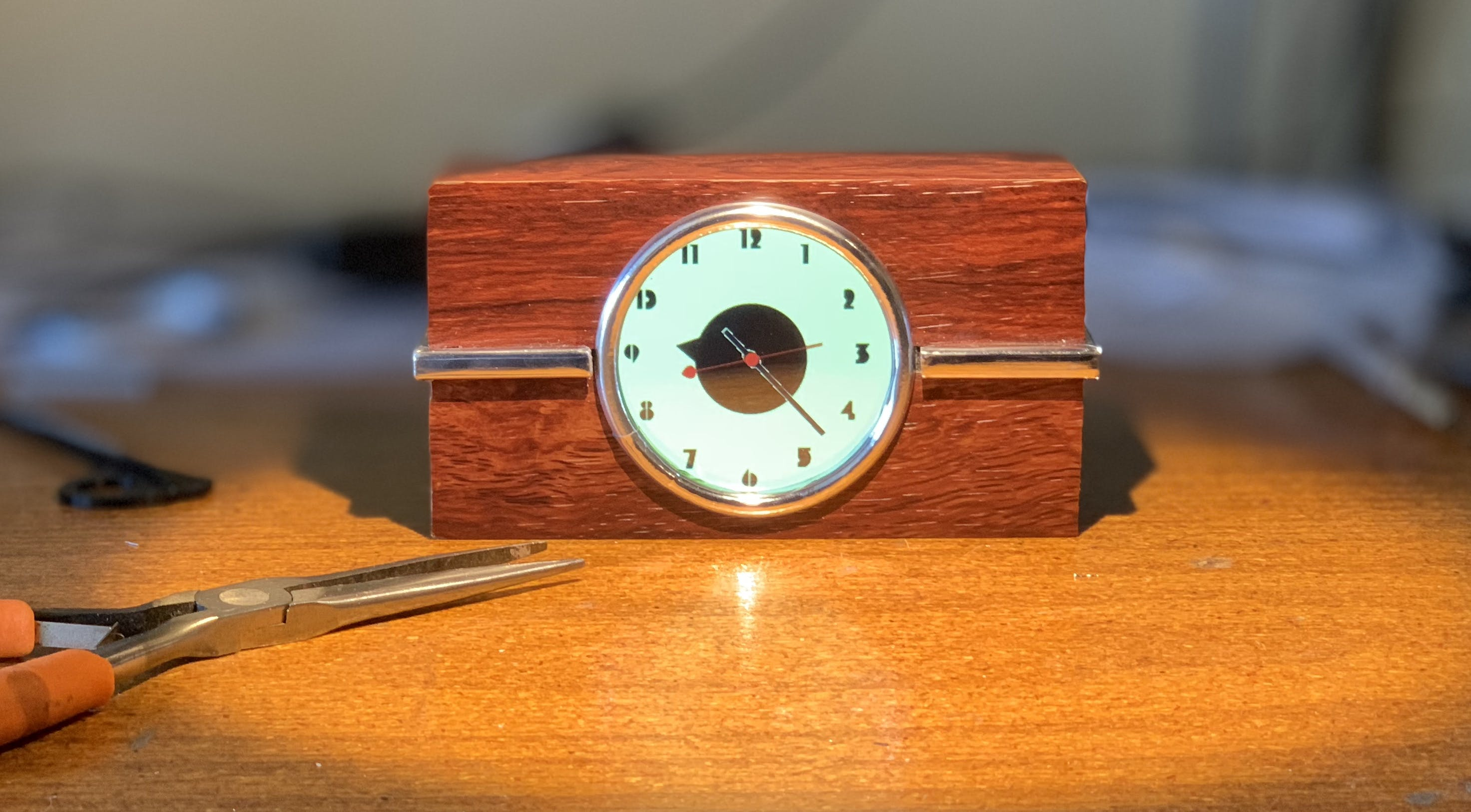 Chrome decorations, White Clock (with Rosewood  Vinyl case treatment)
