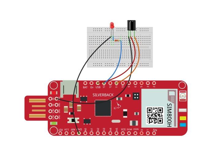 Control LED Using IR Receiver, Remote Control & Surilli GSM
