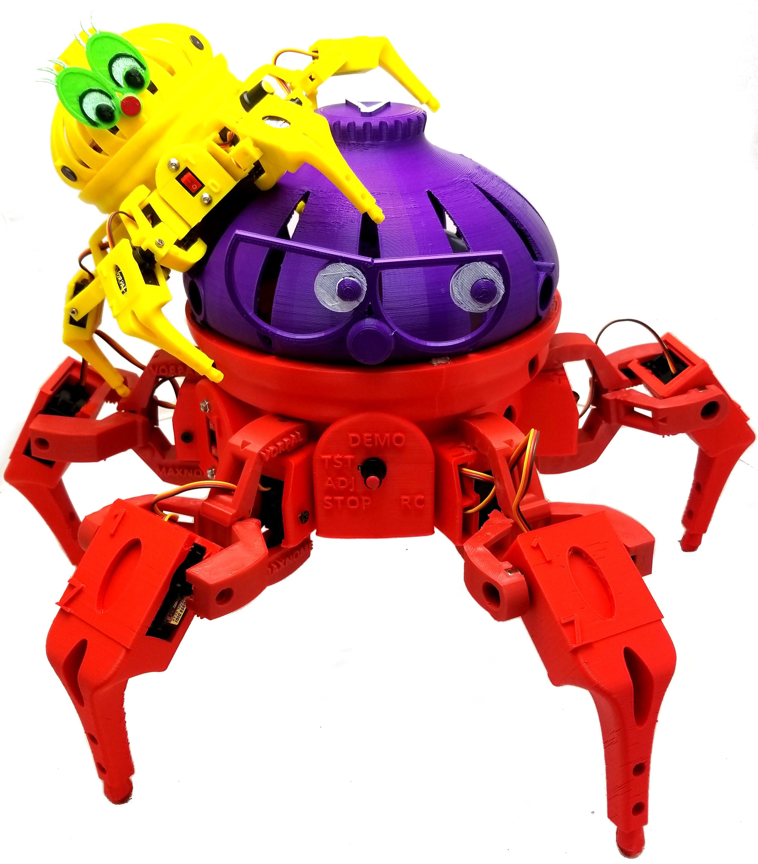 Max the Megapod (red and blue) is eight times the volume of our original hexapod (yellow)