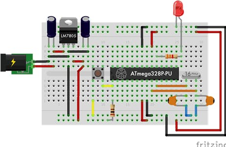Figure 2 - Circuit of Standalone Arduino mounted on the Proboard.