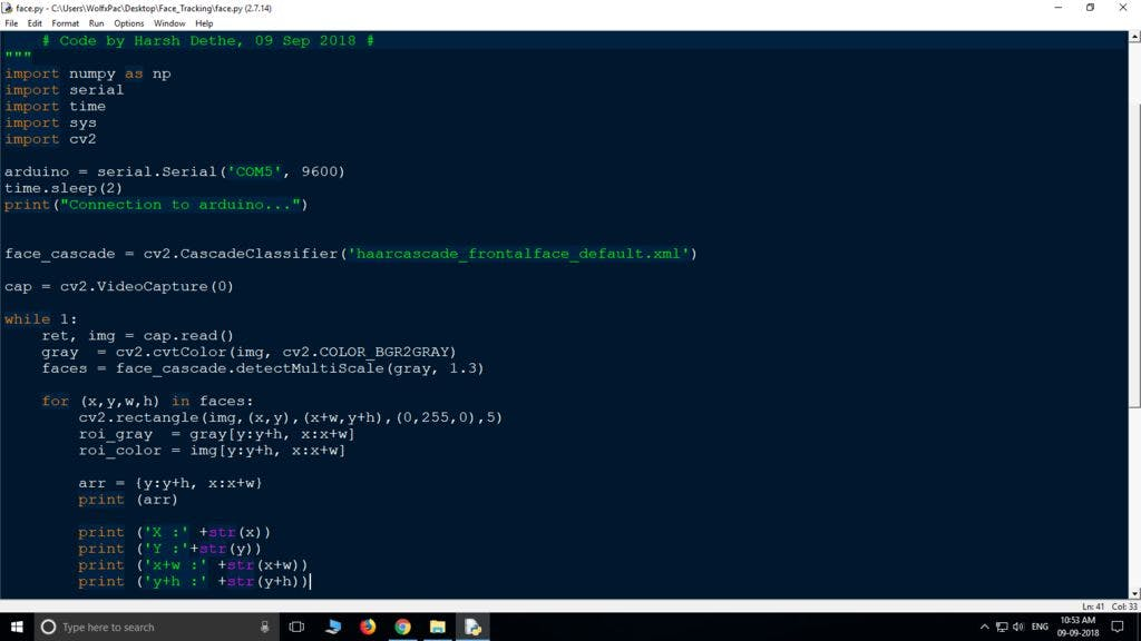 Face Tracking Using Arduino - Arduino Project Hub