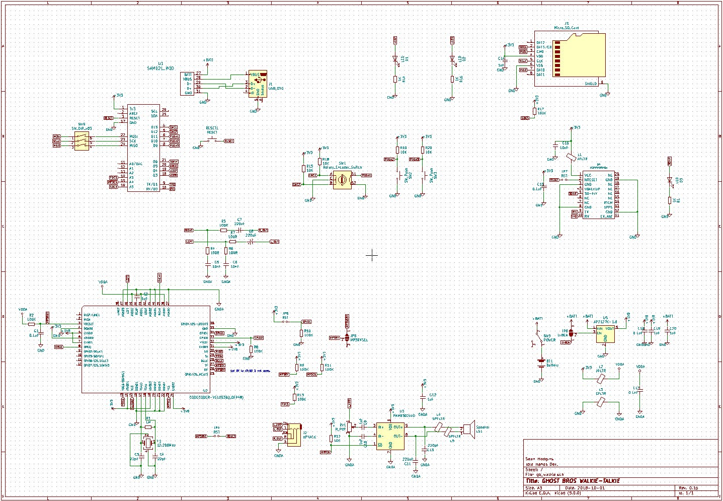 Fake Walkie-Talkie KiCad Schematic