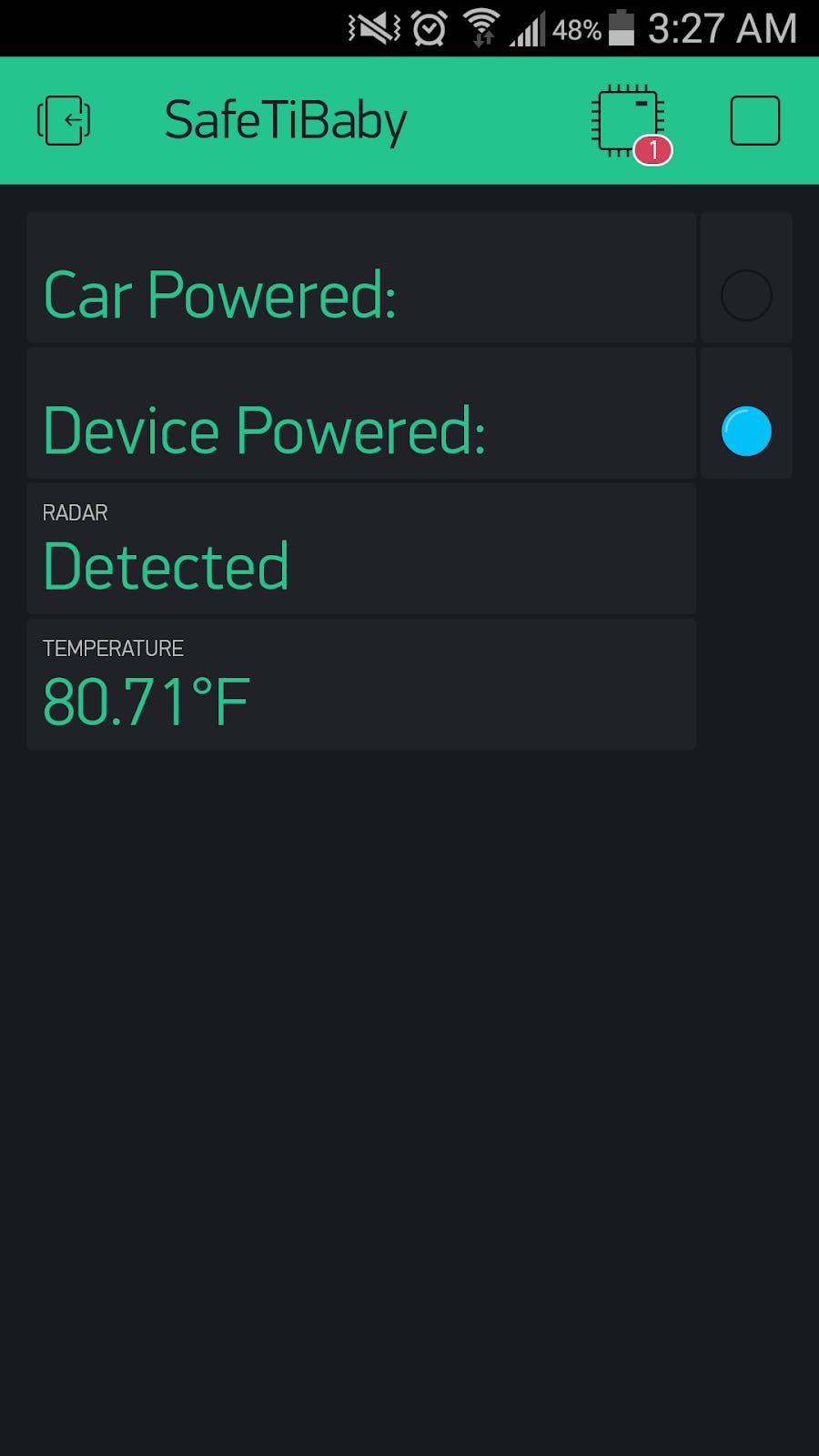 SafeTiBaby app Implemented via Blynk