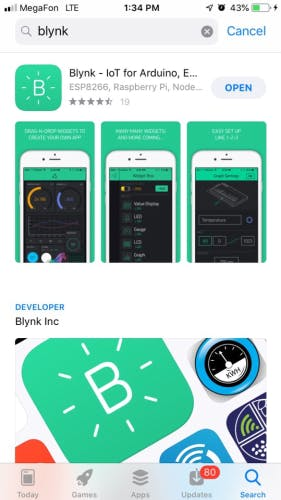 Blynk software at the store