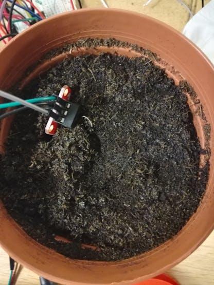 Humidity sensor placed inside a pot