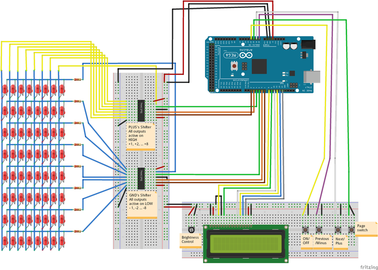 Help Me Improve My Code For Controlling 64 Leds With 2 74hc595n Ics 3v Lamp Brightness Controller Circuit Diagram Thank You Your Time And The Picture Below Is Extremely Similar To Set Up I Am Using Except That High Low Data Pins Are Reversed