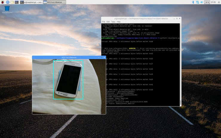 Raspberry Pi detecting recycable