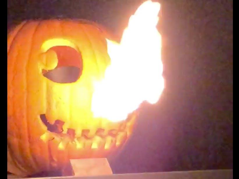 IoT Halloween Jack-O-Lantern Flamethrower Using ESP8266