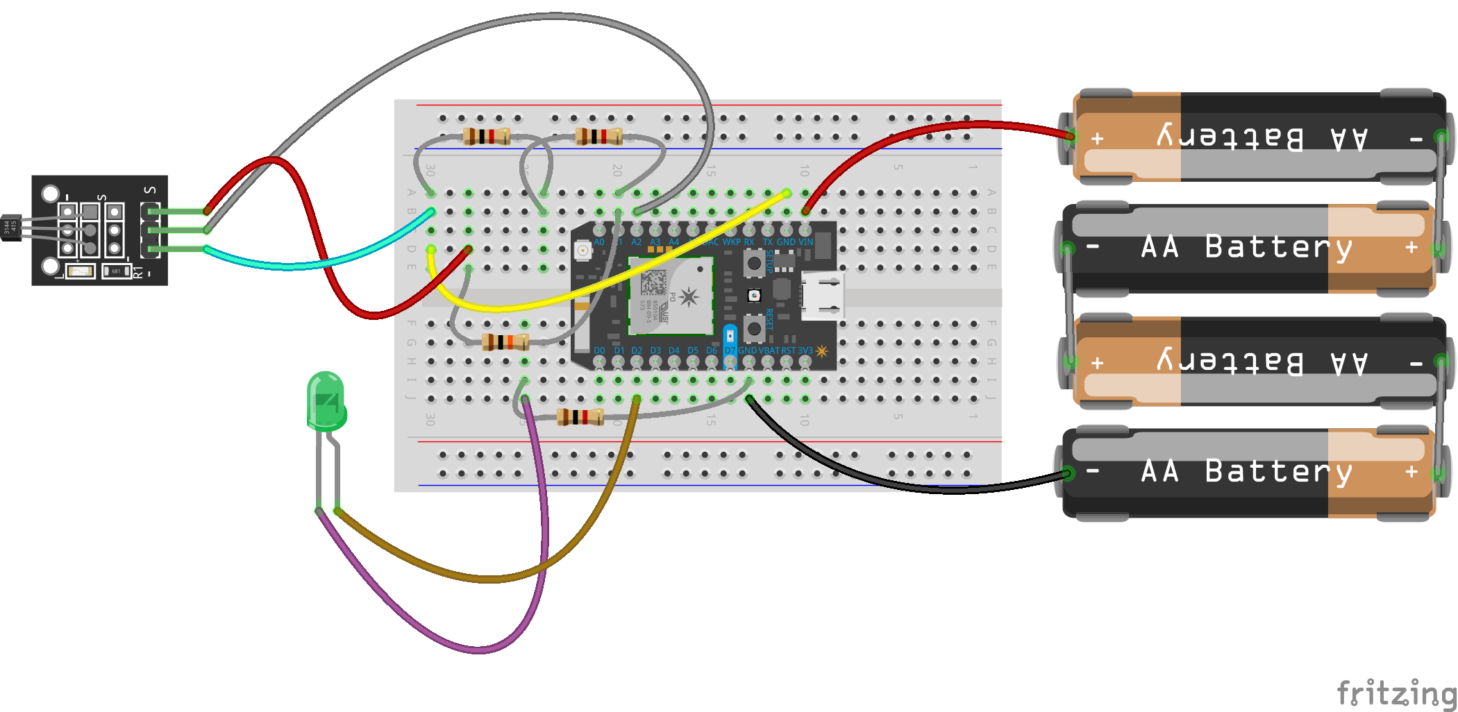 Bicycle Movement Tracking Using Particle Photon Hall Effect Sensor Wiring Breadboard View Of The Module Setup