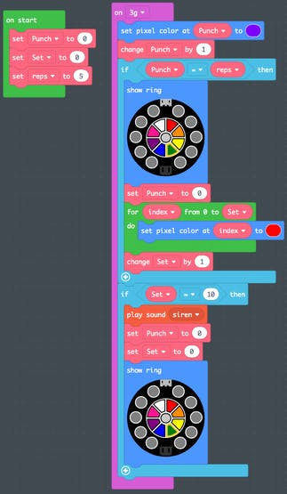 Screenshot of MakeCode for punch tracker.