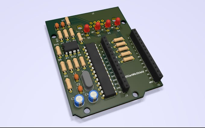 Screenshot of the 3D model in KiCAD