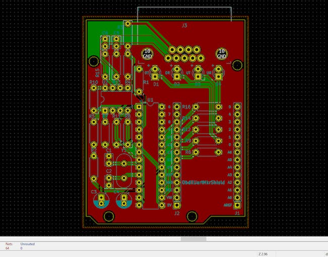 Screenshot of the PCB layout in KiCAD