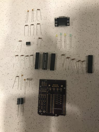 A picture of all the components to be assembled.