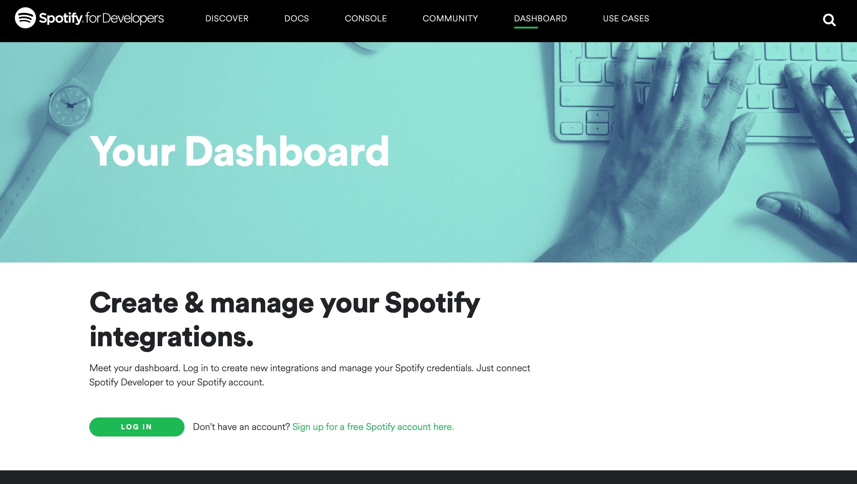 Spotify Developer Dashboard Login