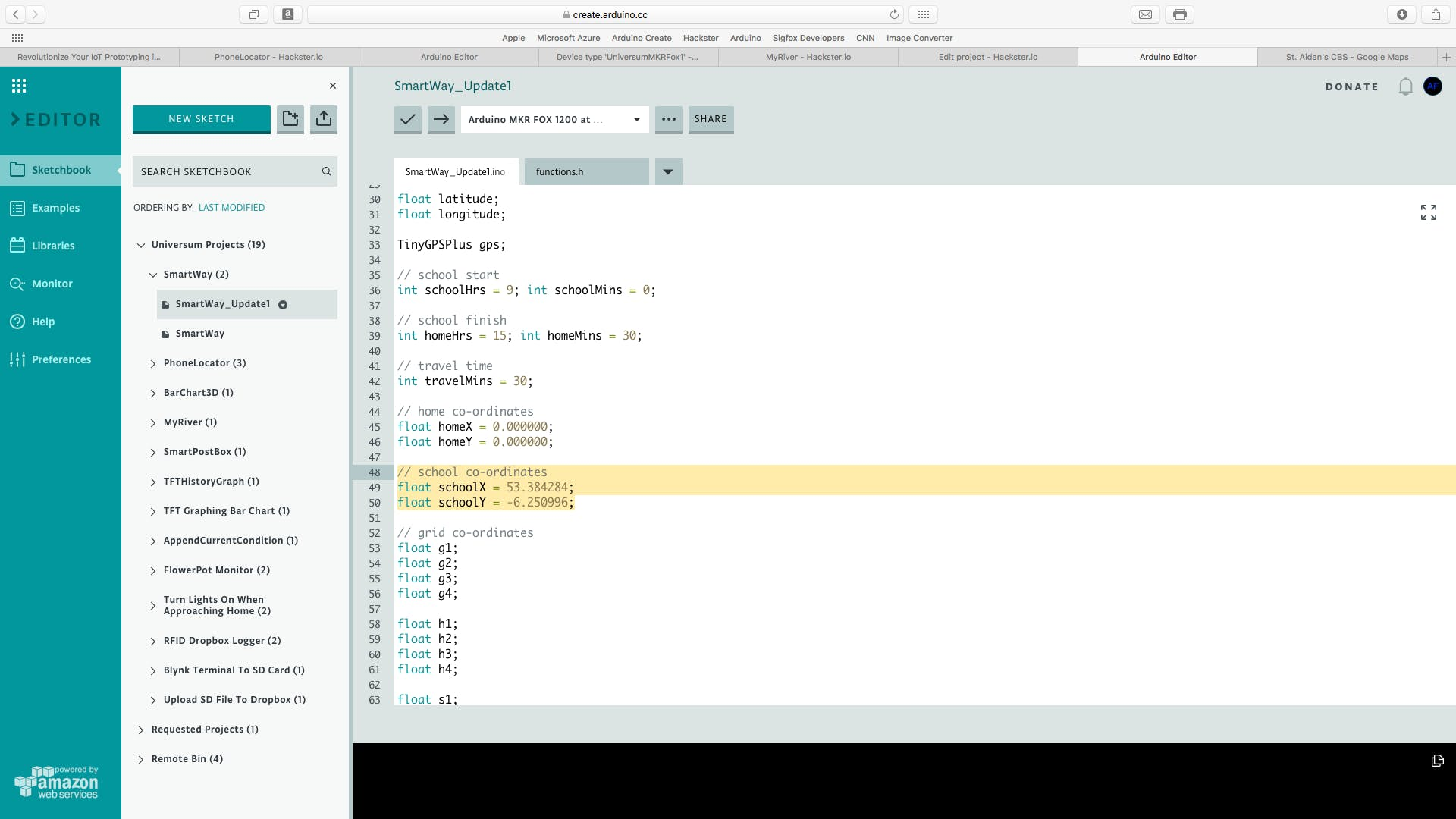 Paste them in the Arduino Code (note that the first value is the latitude)