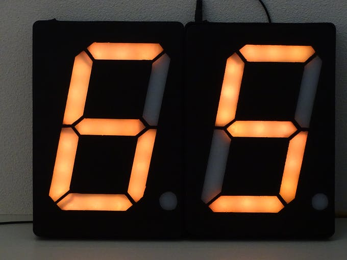The finally produced digital large A4-sized 7-segment displays