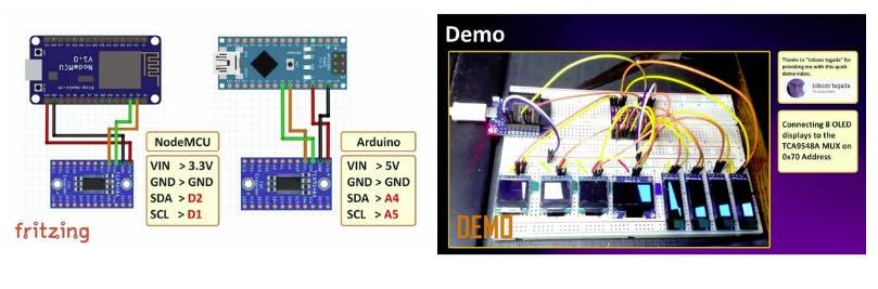 TCA9548A I2C Multiplexer Module - with Arduino and NodeMCU