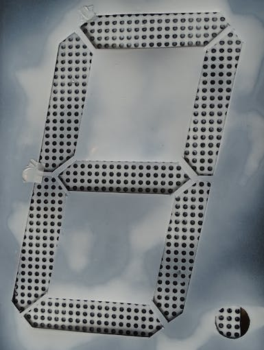 Template used to mark the positions of the LED sections on the re-used Peg-Board