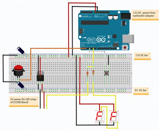 Fritzing diagram of the breadboard set up