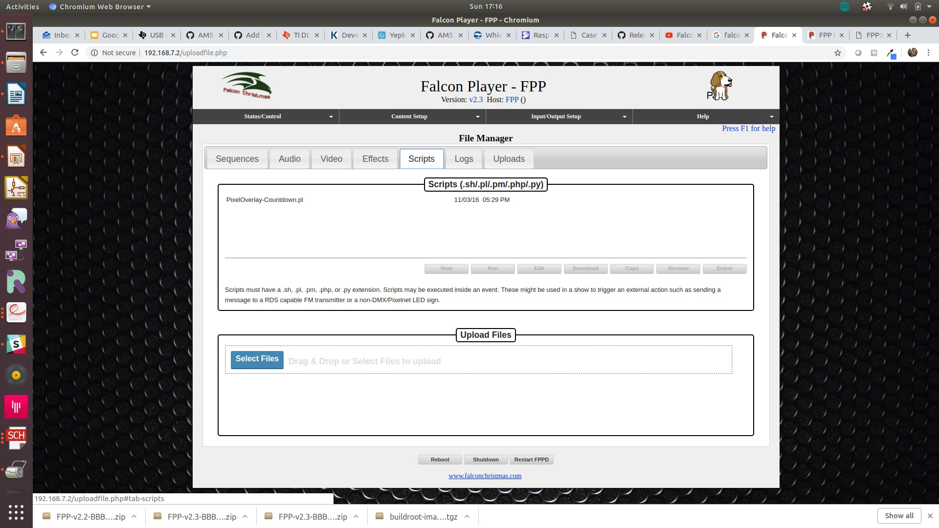 Load the PixelOverlay-Countdown.pl script to the Falcon Player