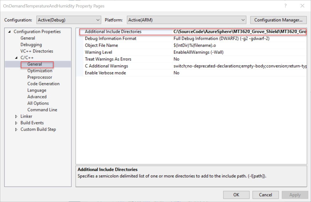 Add MT3620 path to the 'Additional Include Directories' field